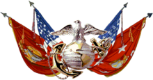 color artwork of an Eagle, Globe, and Anchor over crossed American and Marine flags