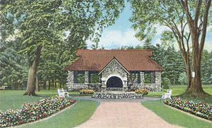 Entrance to Greeley Park, Nashua, NH; from a c...