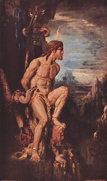 Prometheus, by Gustave Moreau, tortured on Mou...