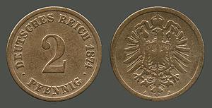 2 Pfennig 1874 A (Berlin), Deutsches Reich. Co...