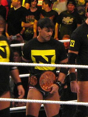Justin Gabriel on Raw in November 2010, as one...
