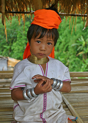 A young Kayan girl from Myanmar in northern Th...