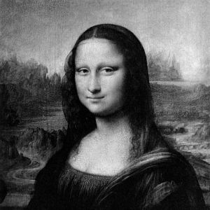 Cropped and b&w version of Mona Lisa. Used to ...