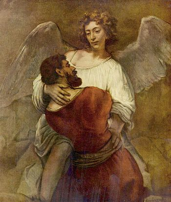 Jacob struggles with the angel, by Rembrandt (...