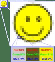 Detalle de una imagen rasterizada. Si hacemos zoom sobre esta imagen, podemos ver los cuadraditos (pixels) que la conforman.