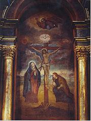 Mural del Señor de los Milagros, �cono de la religión cristiana (católica) que se profesa mayoritariamente en América Latina
