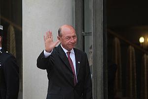 English: Traian Băsescu, President of Romania,...