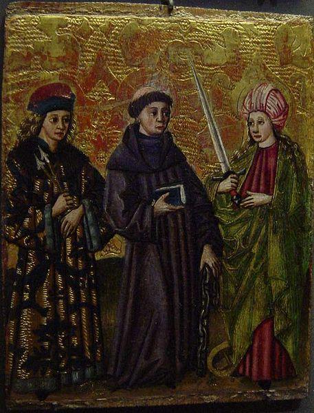 File:XV century painting of St Sebastian, St Linhart and St Catherine.jpg