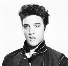 A cropped photograph depicts singer Elvis Pres...