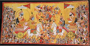 The painting depicts the battle of Kurukshetra...