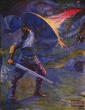 English: An illustration of Beowulf fighting t...
