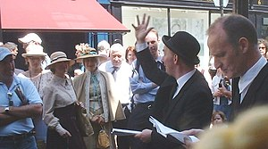 Bloomsday performers outside Davy Byrne's pub