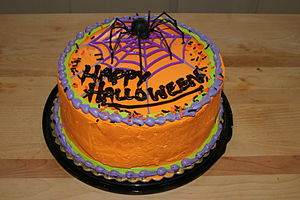 My free Halloween cake that I won at Fred Meyer.