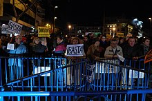 Demonstration in front of the People's Party headquarters protesting against the Barcenas' affair (2 February 2013).