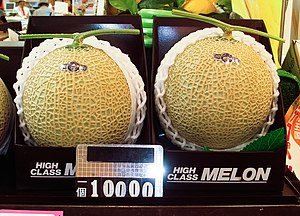 English: ¥10000 (approx. $100) Muskmelon, care...