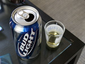 Øl (bud light beer) og snaps