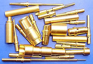 English: Gold-plated cylindrical electrical co...