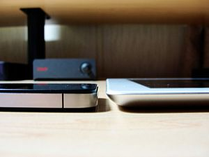 Left: iPhone 4. Right: iPad 2. Placed together...