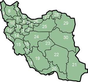 Numbered map of provinces