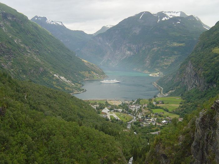 Norway, Geiranger Fjord from the Eagle