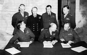 SHAEF commanders at a conference in London Sea...
