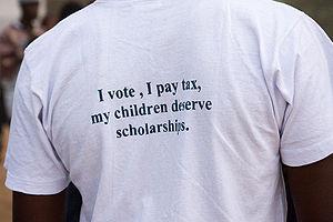 """""""I vote, I pay tax, my children deserve s..."""