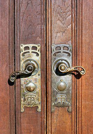 Door handles in the front door with Aarhus Tol...