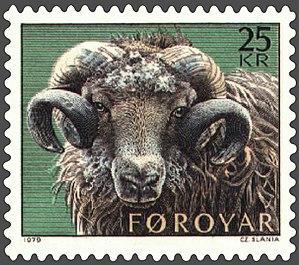A 1979 Faroese stamp by Czesław Słania. Sheep ...