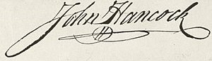 Hancock's signature as it appears on the engrossed copy of the Declaration of Independence