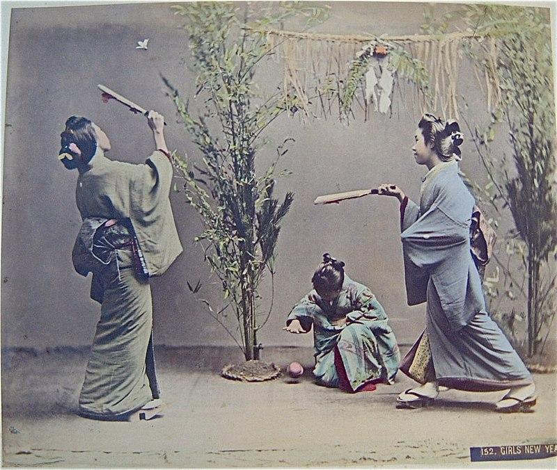 hanetsuki japonesa típica do ano novo no japão, shogatsu