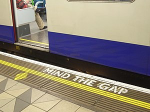 """Mind The Gap"" inscription on the Lo..."