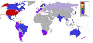 Español: Países ganadores de Miss Universo