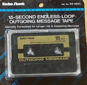An endless loop outgoing message tape, as used...