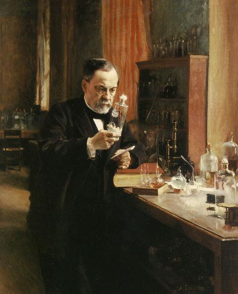 Retrato de Louis Pasteur en su laboratorio. Óleo sobre lienzo de Albert Edelfeldt (1885)