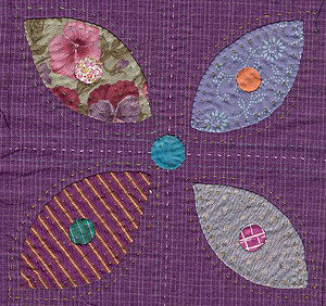 Detail of Quilt block of a flower in applique ...