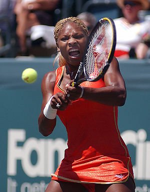 Third seed Serena Williams, USA returns a shot...