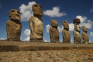 Six of the 15 Ahu Tongariki Moais