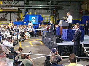 President Obama speaking to Alcoa employees on...