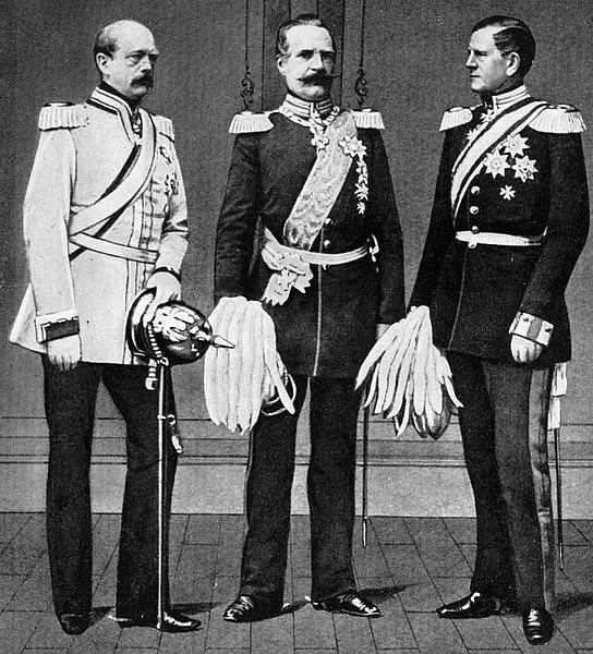 The main people in the unification of Germany. Chancellor Otto von Bismarck (left), Minister of War Prussia A. Roon (center), Chief of the General Staff of the H. Moltke (right).