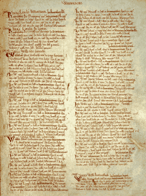 Page from the Domesday Book for Warwickshire, ...