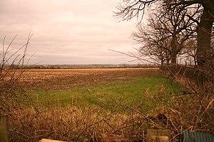 Farmland near Queniborough. Unploughed stubble...