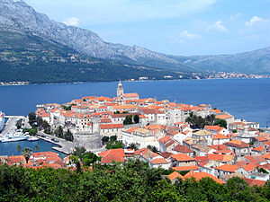 Korčula, at the eastern terminus of the D118 road