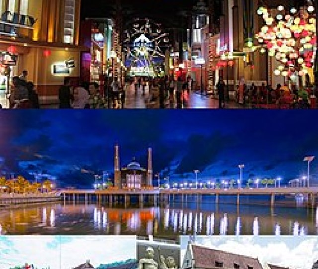 From Top Left To Right Karebosi Skyline Trans Studio Makassar Floating Mosque