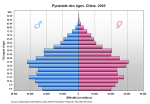 Age pyramid for China showing smaller age coho...