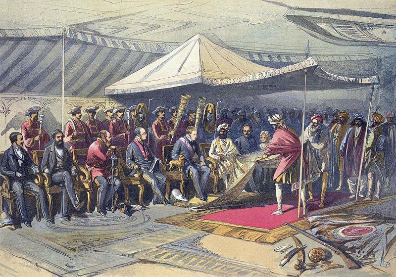 Governor-General of India Lord Canning meets Maharaja Ranbir Singh of Jammu and Kashmir, 1860.