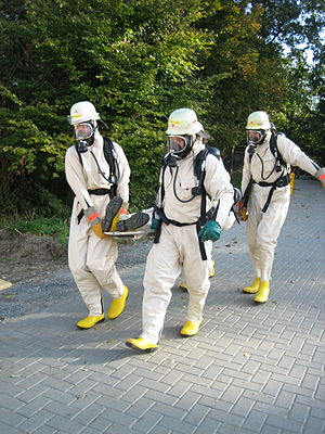 Level B/Type 2 suit. SCBA is outside suit