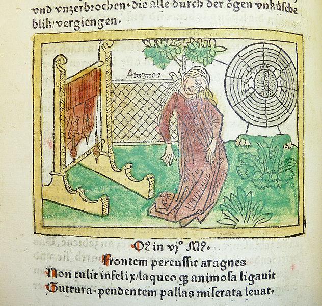 Samobójstwo Arachny. De mulieribus claris. wersja niemiecka ok.1474