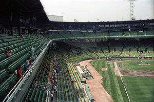 English: Batting practice at the Old Comiskey ...