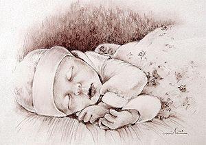 English: Sleeping baby.