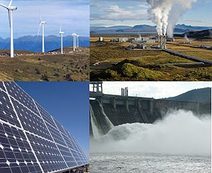 a collage about renewable energy. see at the s...